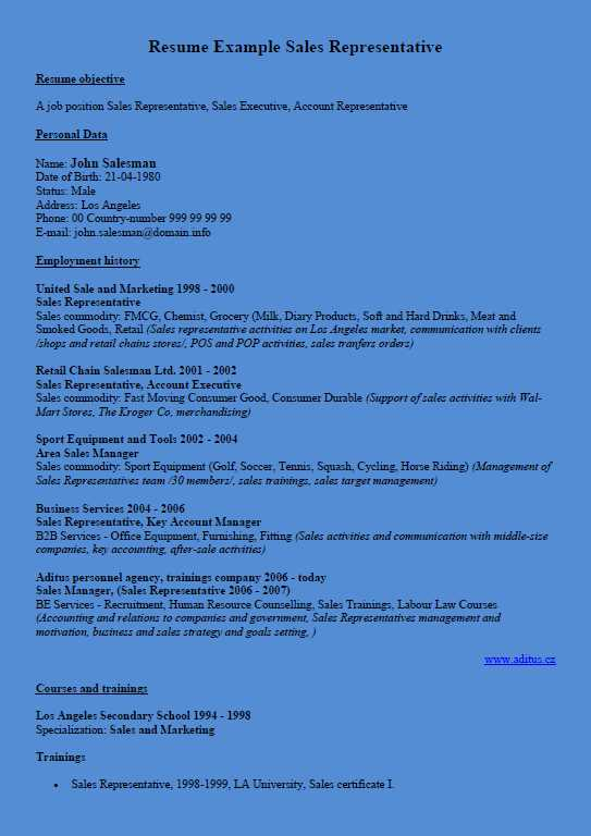 Curriculum Vitae Example Sales Representative - Blue Background Color