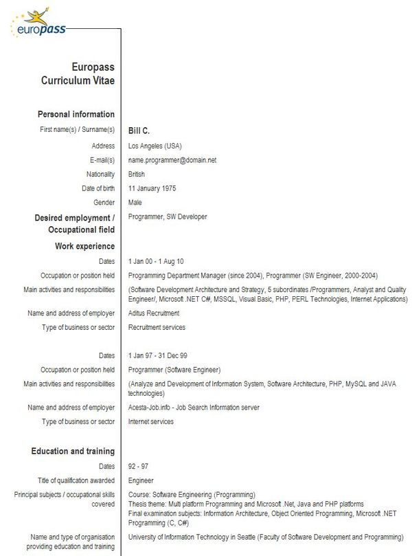 Sample Of Cv European Format - Resume templates